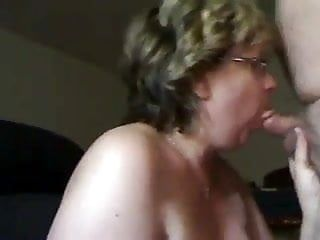 Aged woman sucks schlong and receives cum on her love muffins