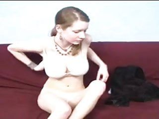 Slim hotty with large wobblers masturbates