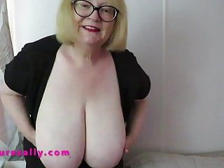 Large bra buddies granny in nylons and white haunch boots
