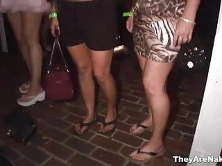 Hawt beauties shaking sexy milk shakes in public